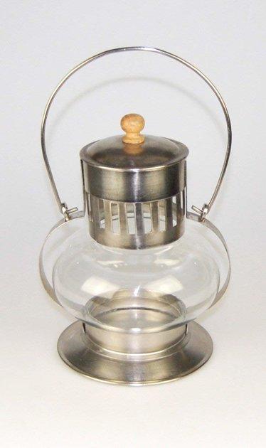 Laterne Windlicht Französischer Landhausstil Shabby Metall / Glas Silber H 21 cm