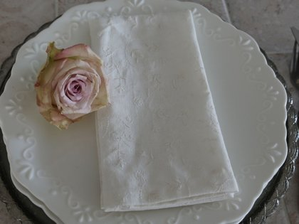 Chic Antique Servietten offwhite Blütenstickerei Tischwäsche 40 x 40 cm