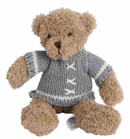 Clayre & Eef Stofftier Kuscheltier Teddy Bär Strickpullover grau 25 cm