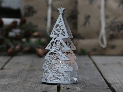 Teelichthalter Chic Antique Weihnachten Weihnachtsbaum Antik Weiss Metall H 15cm