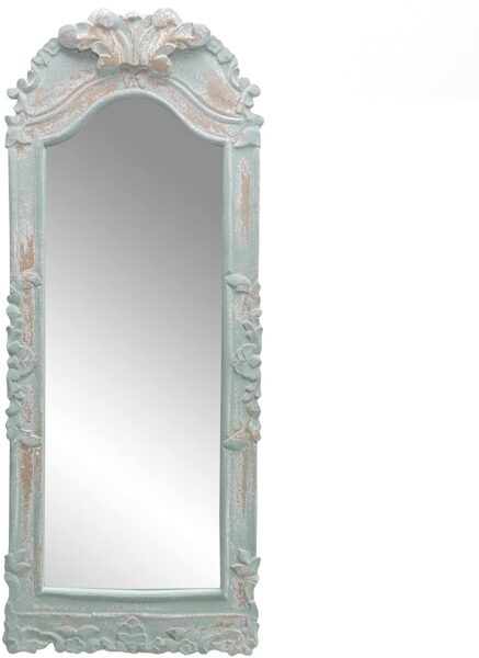 Wandspiegel frz. grau mit Nachbildung Ornamenten Brocante Franske H 65 cm