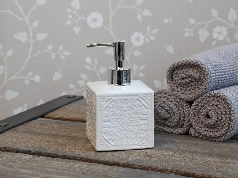 Chic Antique Seifenspender, Seofenschale quadratisch Relief oder Diamant Porzellan Edles Design