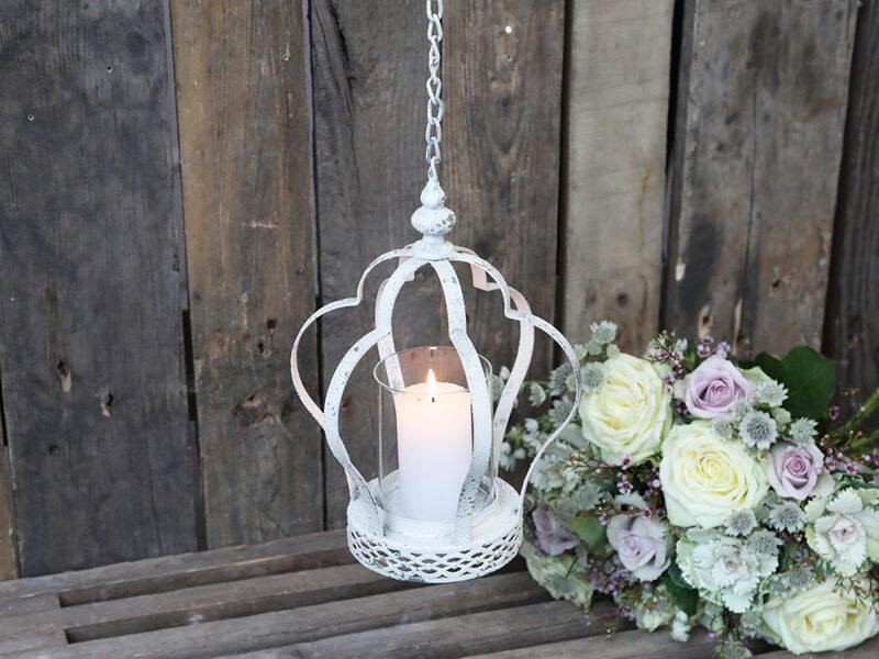 Chic Antique Krone z. Hängen Kerzenhalter Teelicht Antik Weiß Metall Windlicht