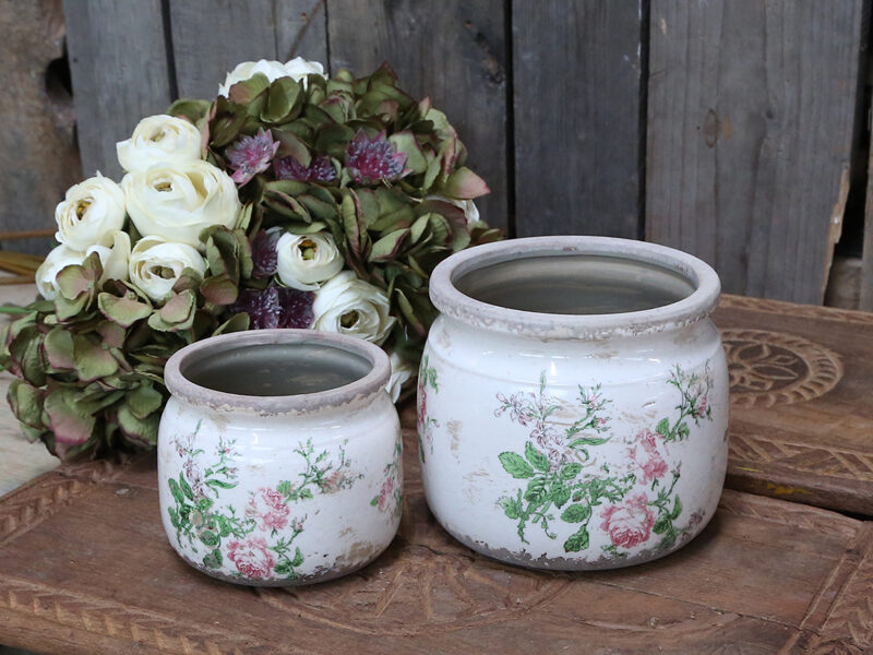 Chic Antique Toulouse Übertopf m. Rosen Vintage Shabby Vase Pflanztopf D 15,5 cm