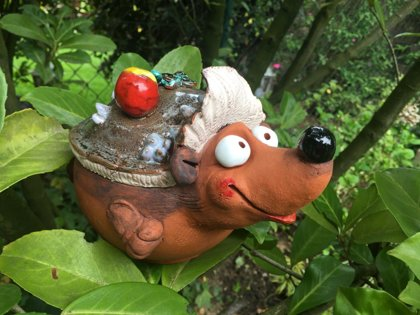 Gartenstecker Gartenkugel Blumenstecker Gartendeko Beetstecker Igel Keramik