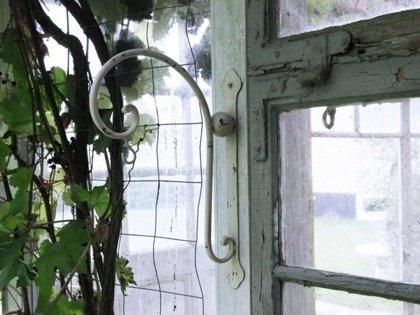Chic Antique Haken Wandhaken f. Blumenampel Metall Laterne Shabby Creme Landhaus