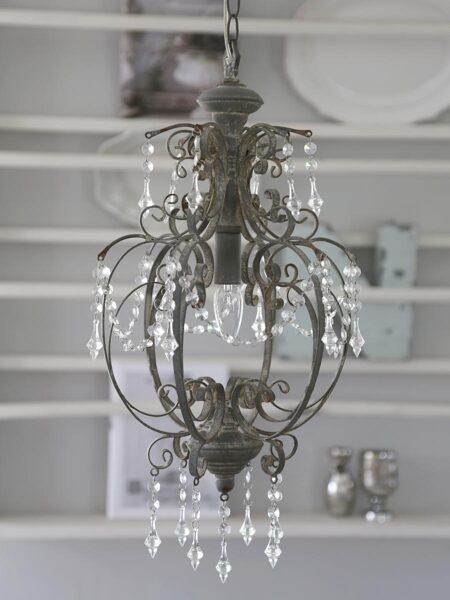 Chic Antique Lampe Hängelampe Deckenlampe Kronleuchter antique grau Shabby