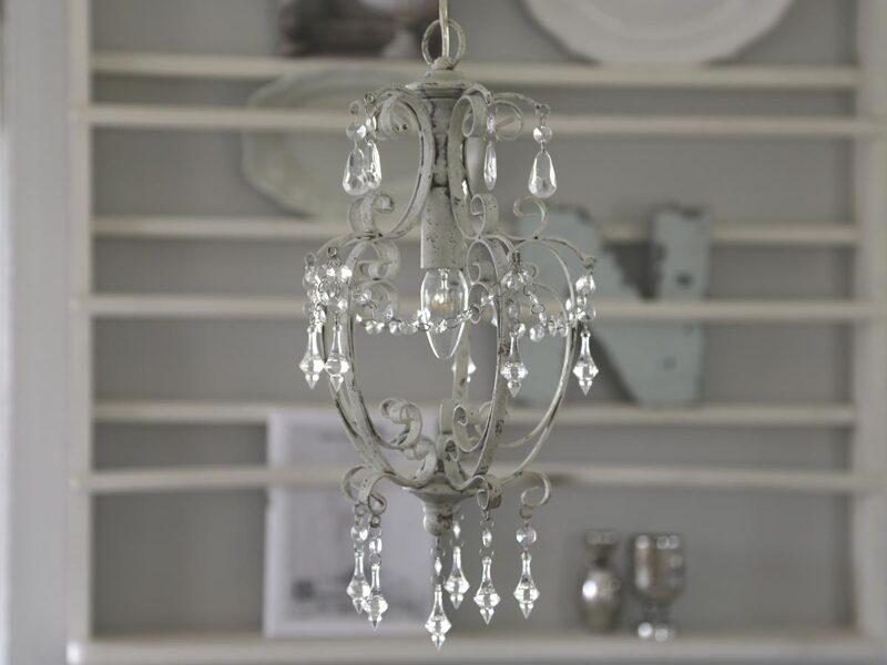 Chic Antique Lampe Hängelampe Deckenlampe Kronleuchter antik weiß Shabby