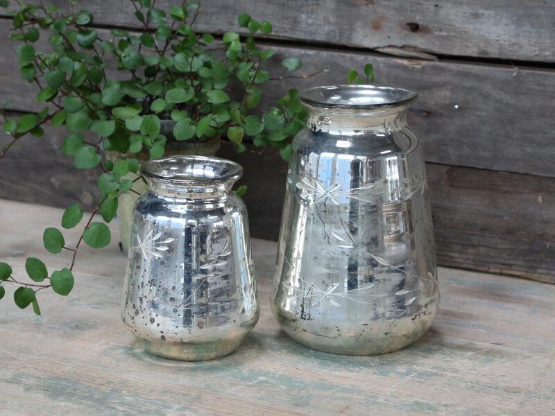 Chic Antique Vase mit Schliff Pokal Antik Silber Bauernsilber 2 Größen
