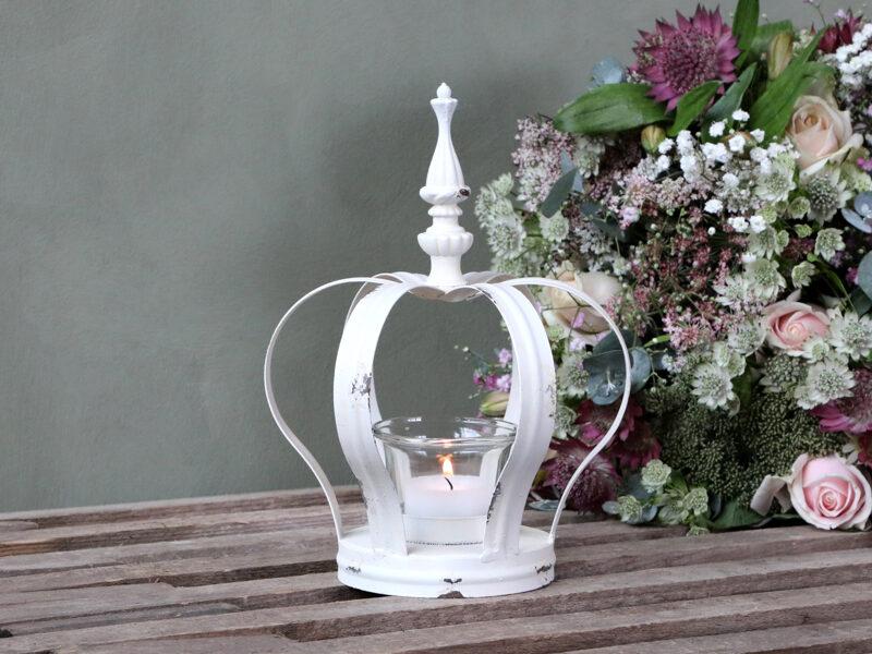Chic Antique Teelicht Krone Teelichthalter Kerzenleuchter antique creme shabby