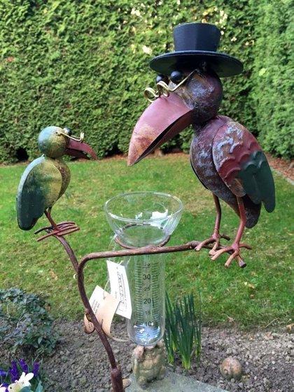 Regenmesser Gartenstecker Rabe Vogel Metall Glas Bunt H 136 cm