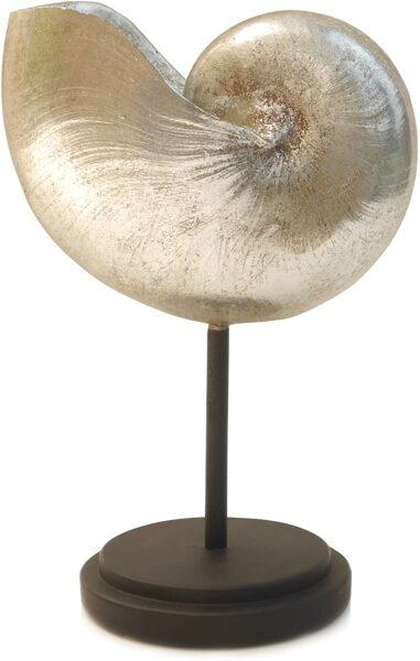 Dekorative maritime Deko-Muschel Deko-Objekt Muschel silberfarbig auf Fuß