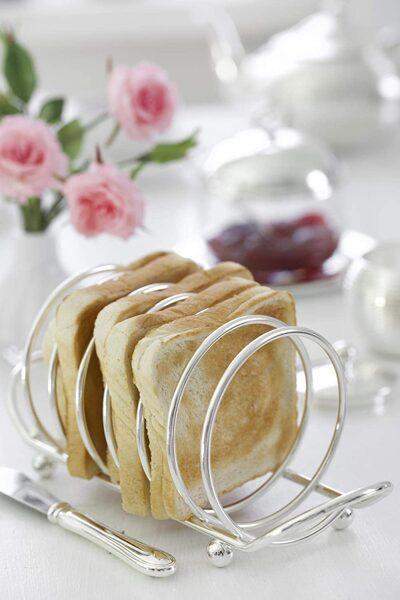 Toastständer Toastscheibenhalter String, für 6 Scheiben, edel versilbert, Länge 22 cm