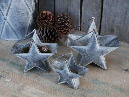 Chic Antique 3 er Set Sterne Körbe mit Griff Weihnachten Metall Antik Zink