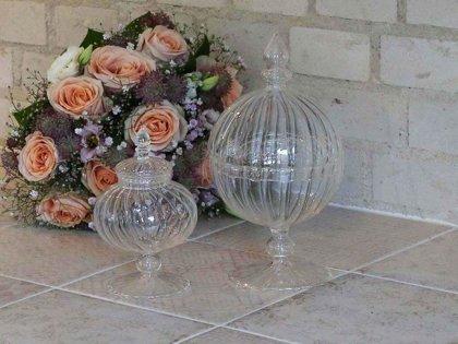 Plätzchendose Bonboniere auf Fuss Chic Antique Glasdose Keksschale H 24 cm (Rechts)