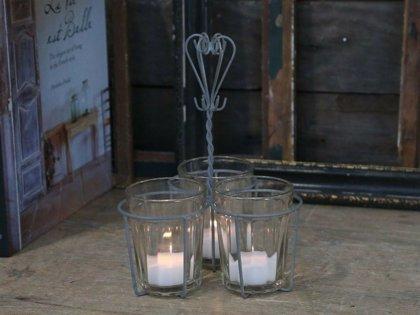 Chic Antique Fil de fer Halter m. 3 Gläser Teelichthalter Antipasti AntiqueZink
