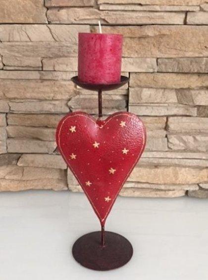 Kerzenleuchter Kerzenständer Herz Sterne Kerzenständer Metall Dkl.Rot H 32 cm