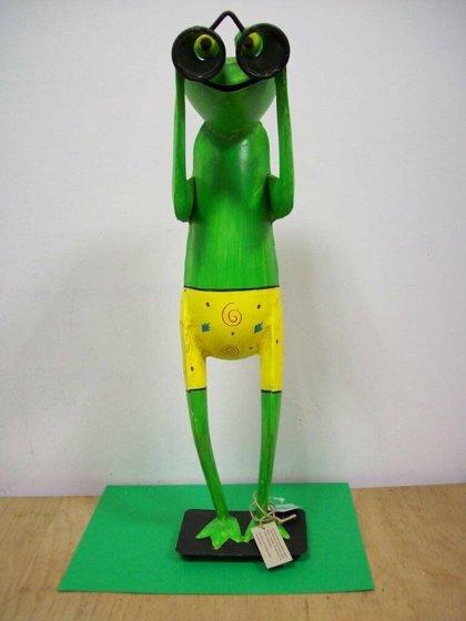 XL Frosch Spanner mit Fernglas Gartenfigur ° Metall° Figur H 52 cm