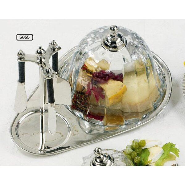 5 tlg. Hoff Interieur Käse-Servier-Set , Messer, Haube und Platte Nickel Glas