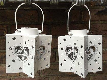 Weihnachten Sterne Laterne Windlicht Metall Weiss Teelicht H 14cm