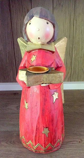 Nostalgie Weihnachten Engel Rot Gold Teelichthalter Polystone H 36cm
