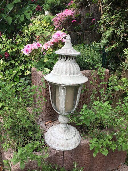 Laterne Stand Windlicht Orient Metall Garten Deko Antik Grau Vintage H 43cm