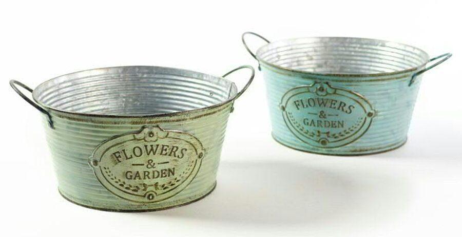 2 er Schalen Set Metall Flowers & Garden seitliche Griffe D 21/ H 11cm 2 Farben