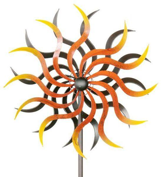 Windrad Art Ferro drehende Farben Metall Windspiel Gartenstecker H 184 cm  D 35,5 cm