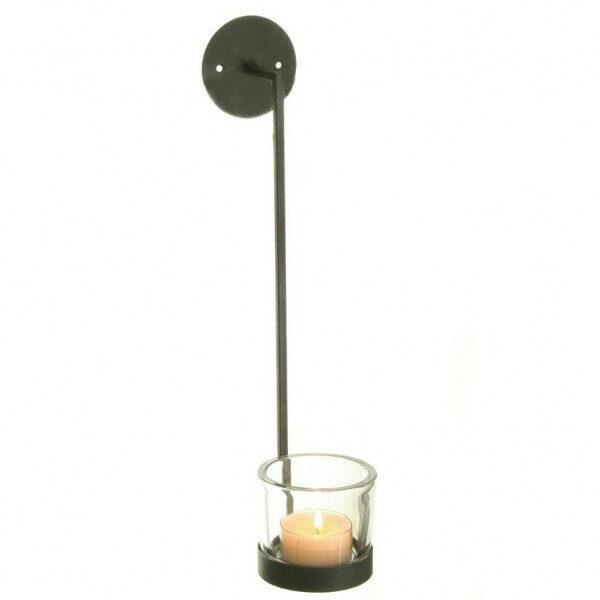 Teelichthalter Wandkerzenhalter Wandleuchte Wand Kerzenhalter Metall/Glas anthrazit