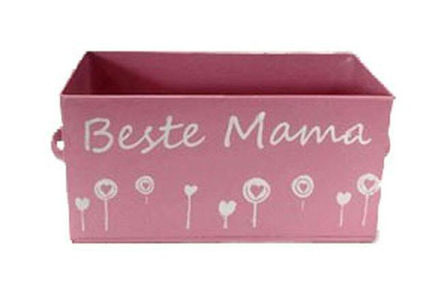 """Metall-Kiste """"Beste Mama"""" pink Aufbewahrungsbox Pflanzkiste Muttertag"""