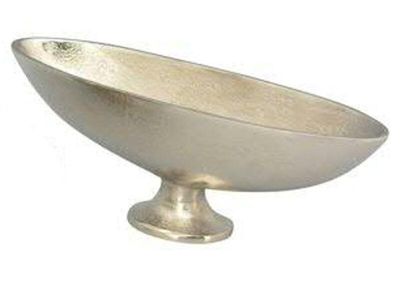 Schale Jardiniere Aufsatz m. Fuß Antik Silber Aluminium L 35 cm große rechts