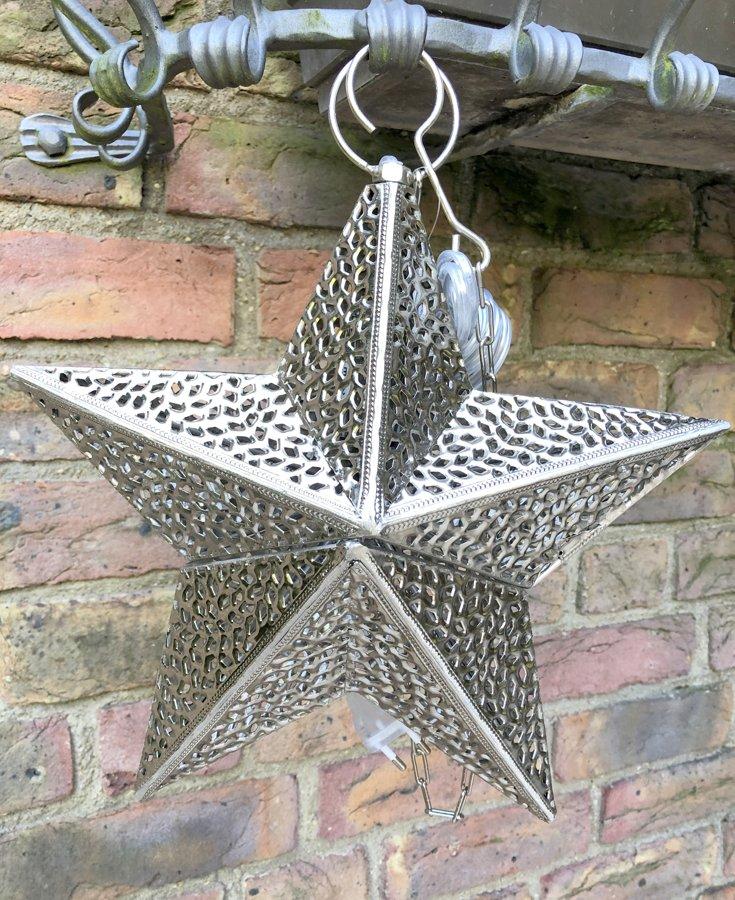 Stern Metall zum Hängen Lampe Sternlaterne/Windlicht Orient Antik Silber