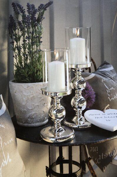 Windlicht / Kerzenhalter auf Fuss versilbert mit Kugelfuß glatt poliert 2 Größen