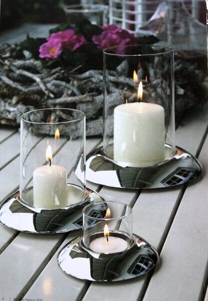 Teelichthalter Windlicht / Kerzenhalter glatt poliert -versilbert 3 Größen