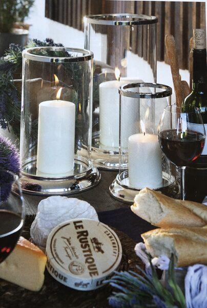 Extravagantes Windlicht / Kerzenhalter glatt poliert -versilbert 3 Größen