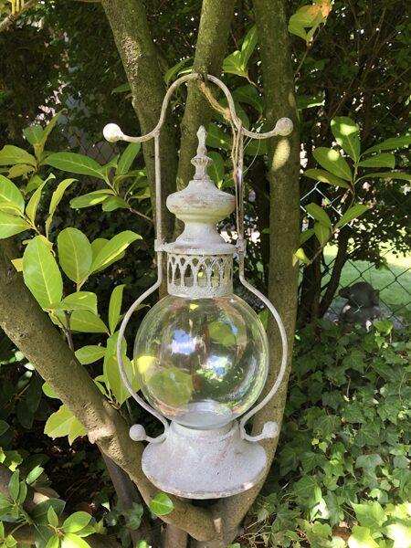 Frz. Stall Laterne m. Glaseinsatz Windlicht zum Aufhängen/Stellen Vintage Grau (rechts groß)