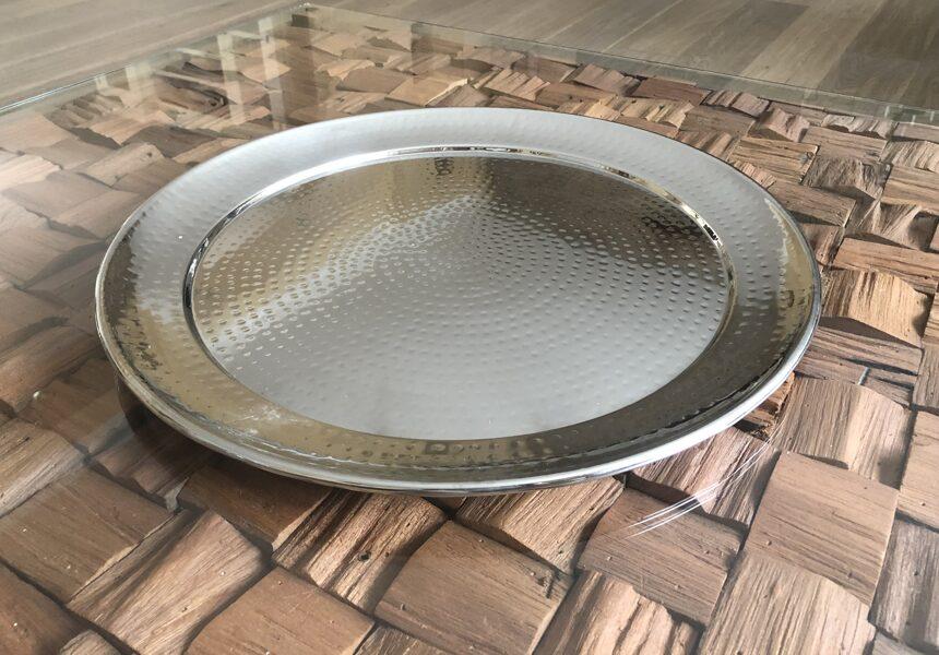 XXL Tablett SUArt Hammerschlagoptik Schale Shabby Silber Schüssel Ø 52 cm