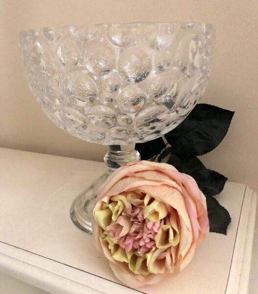 Extravagante Glasschale auf silbernen Fuss Keks Konfekt Schale H 19 cm
