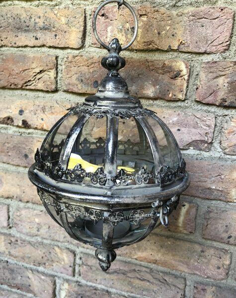 """Windlicht-Hänger"""" Kugel """" Metall/Glas  mit Kette Gartenlaterne Hängelaterne Kerzenhalter 2 Größen"""