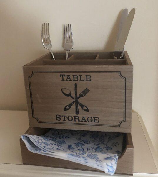Besteckkasten mit Serviettenablage Besteckkorb Organizer Shabby Besteckbehälter Holz