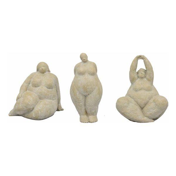 Frauen Skulptur Hilda Dicke Dame Steinoptik Garten Figur Deko  3 Formen