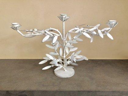 Kerzenhalter Kerzenständer Kerzenhalter 3- armig Metall Antik Weiss Deko L 43 cm
