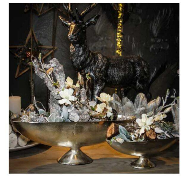 Schale Jardiniere Aufsatz m. Fuß Antik Silber Aluminium L 46 cm große links