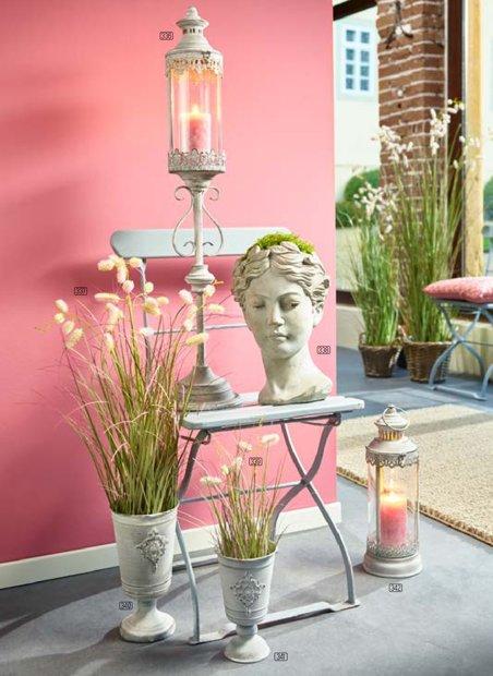 Laterne auf Fuss Windlicht Orient Metall Garten Deko Creme Vintage H 90 cm