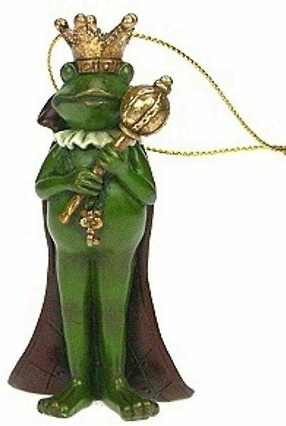 Froschkönig mit Zepter Anhänger Baumschmuck Polyresin H 9,5 cm