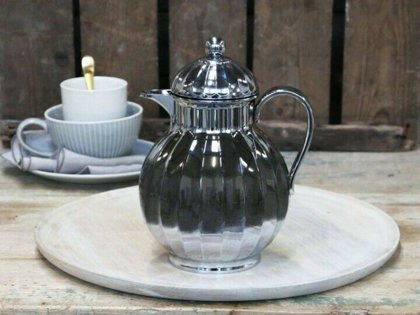 Chic Antique ° Thermoskanne ° Isolierkanne Romantik Landhaus Silber ° 0,6 L