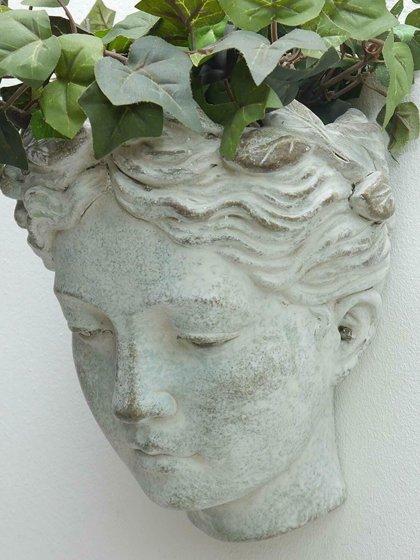 Pflanzbüste Wandbüste Frauenkopf z. Bepflanzen Keramik creme- white