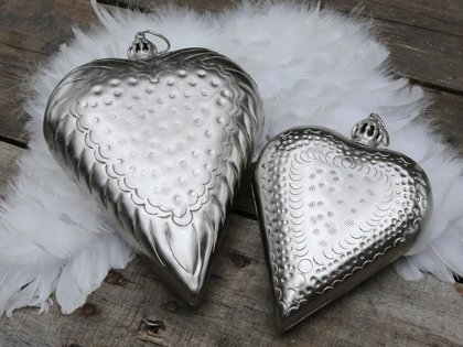 Chic Antique Herz Weihnachten Krone Metall Geschenk Deko Baumschmuck Antiksilber