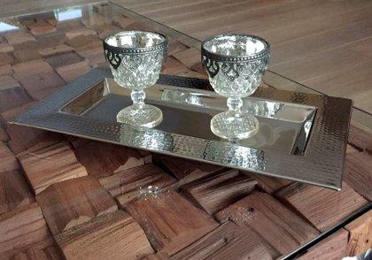 Deko Tablett Platte Rechteckig Dekoschale Alu Vernickelt Silber 21,5 x 41,5 cm
