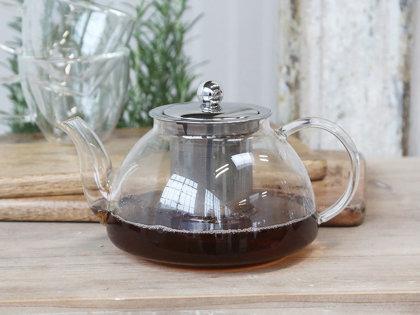 Chic Antique Teekanne Glas m. Teesieb Einsatz Teezubereiter Küche Deko Landhaus